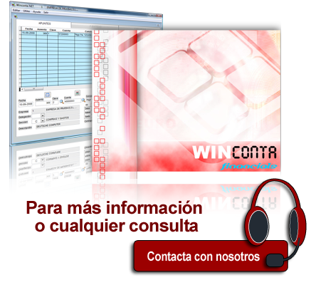 Pantalla de inicio e interior de winconta financials